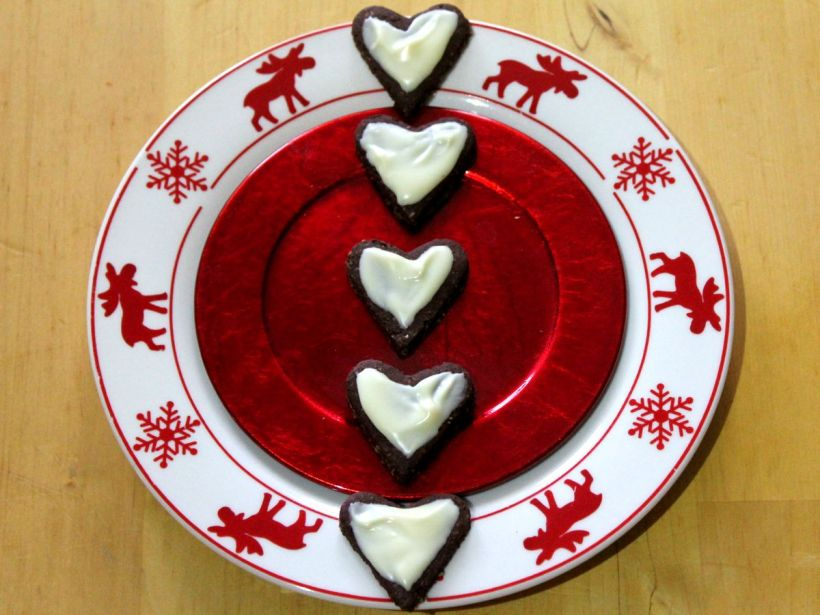 Schokoherzen Kekse Plätzchen vegan und glutenfrei Knusperchen Schokolade